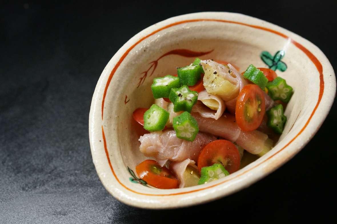 茄子と生ハムの柚子胡椒マリネ